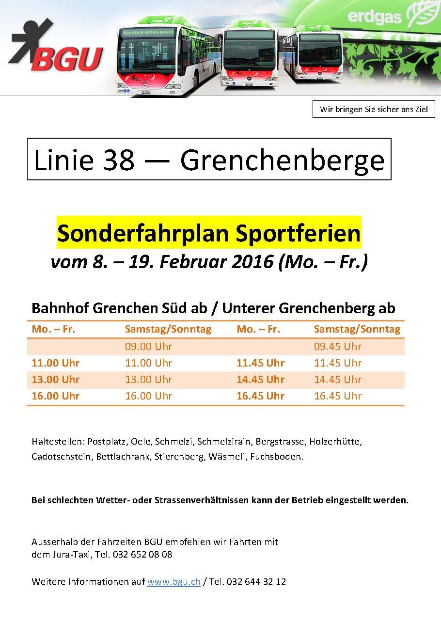 Busfahrplan BGU - Grenchenberg Linie 38